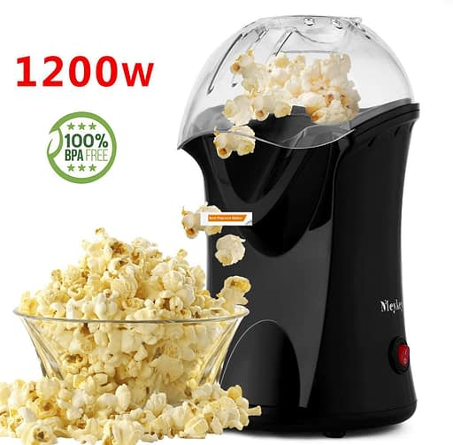 Hot Air Popcorn Maker, No Oil Needed, Including Measuring Cup and Removable Lid