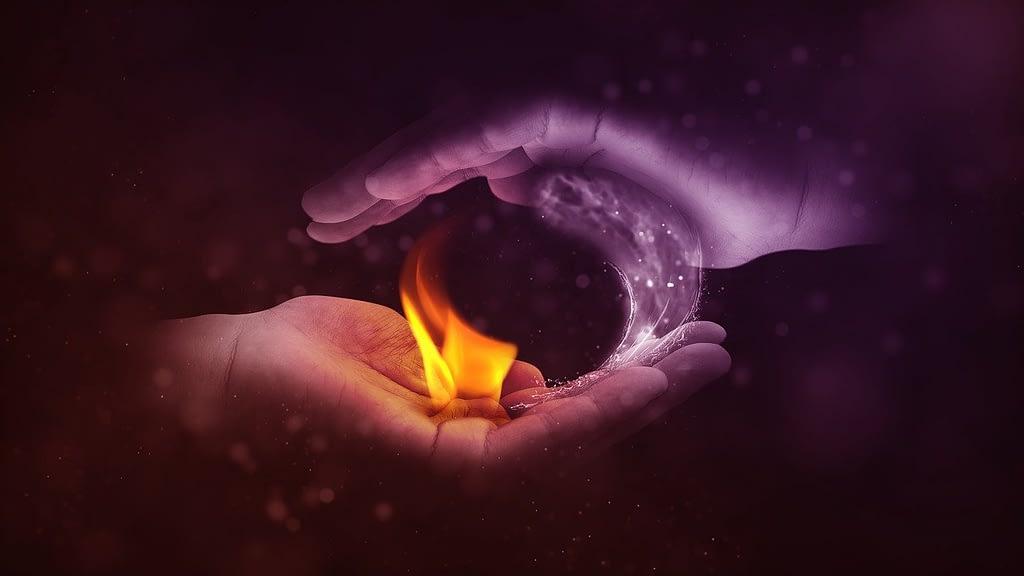 yin and yang, fire, water