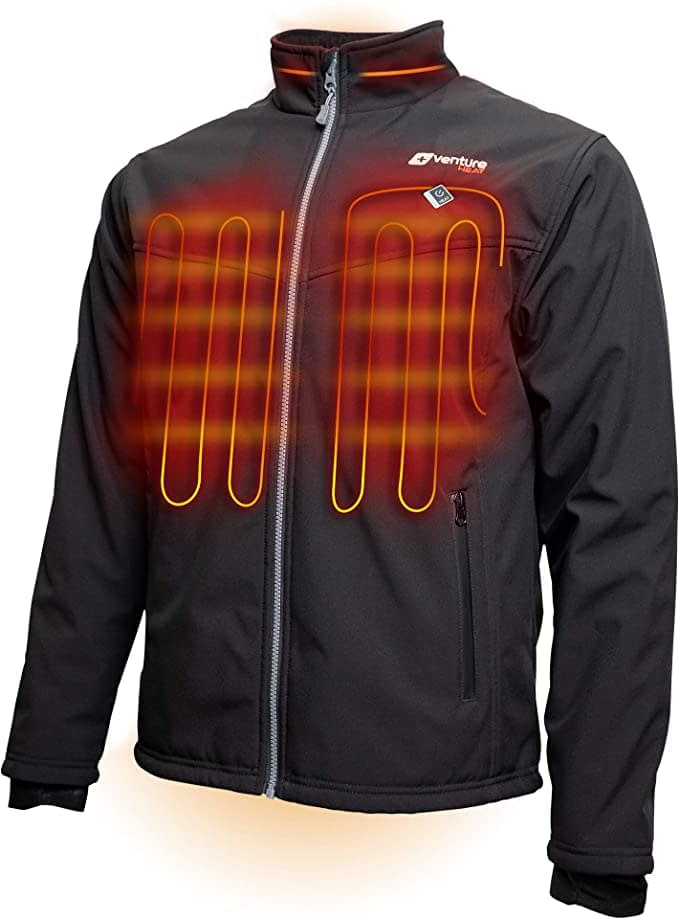 Venture Heat Men's Softshell Heated Jacket with Battery Pack - Windproof Electric Coat
