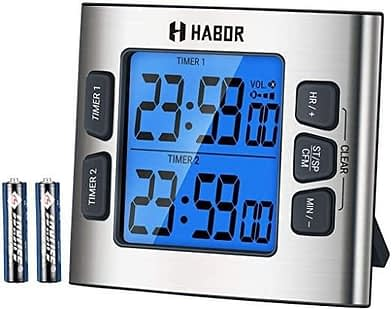 Habor Digital Dual Kitchen Timer with Calendar Clock
