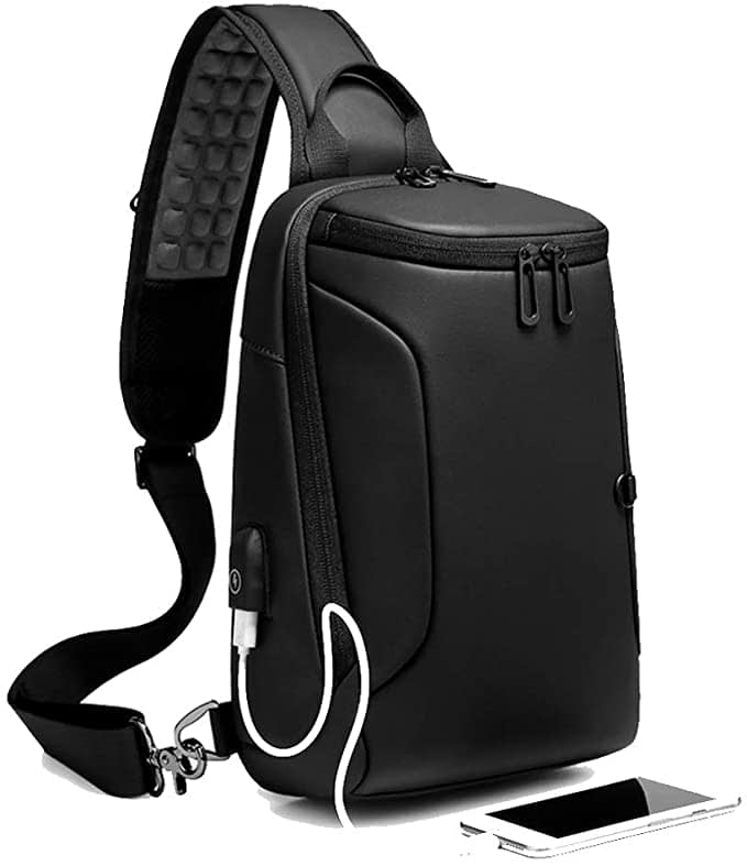 Sling Bag for Men Crossbody Shoulder Sling Backpack Waterproof Chest Bag with USB Charging Port 9.7 Inch Small Casual Daypack