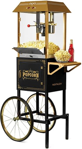 Nostalgia CCP1000BLK Vintage 10-Ounce Professional Popcorn and Concession Cart