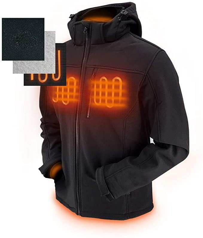 Dr.Qiiwi Men's Softshell Heated Jacket Electric Coat with Detachable Hood