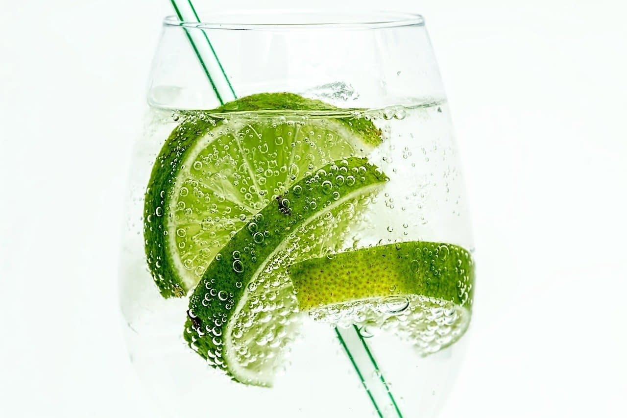 lime, club soda, drink