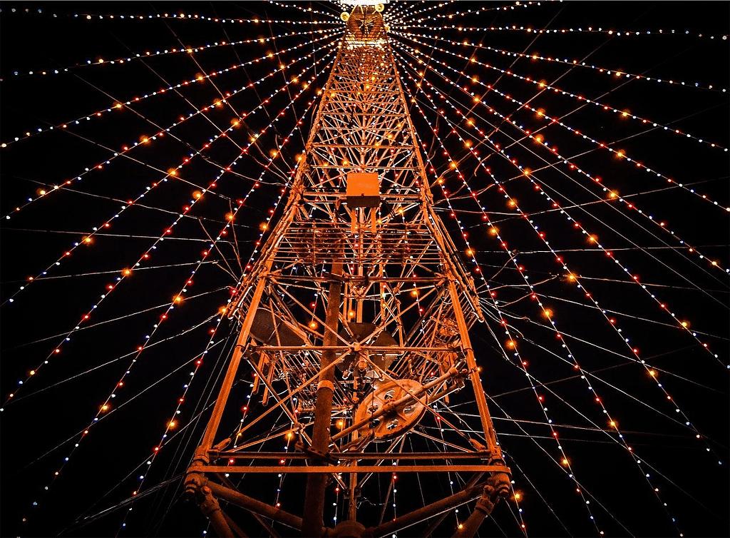 string lights, tower, night