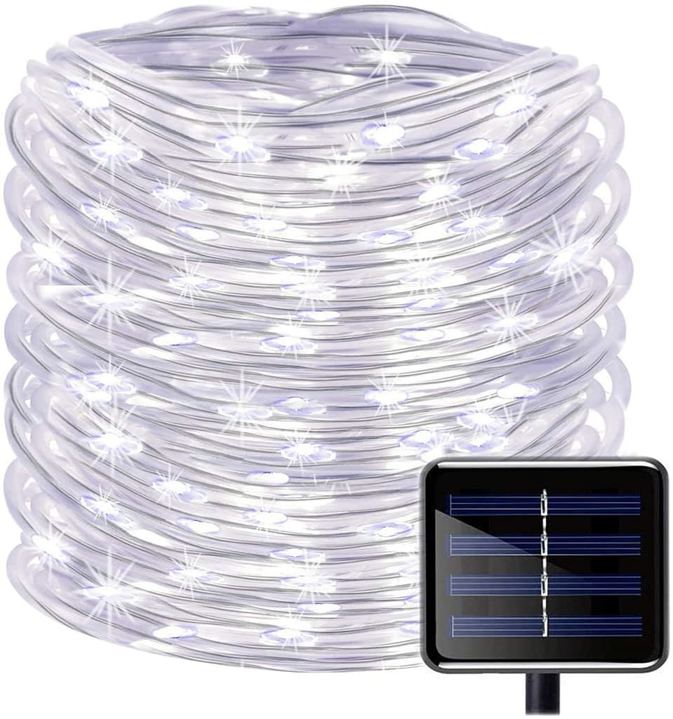 SunSeaTon Solar LED Rope Outdoor String Lights