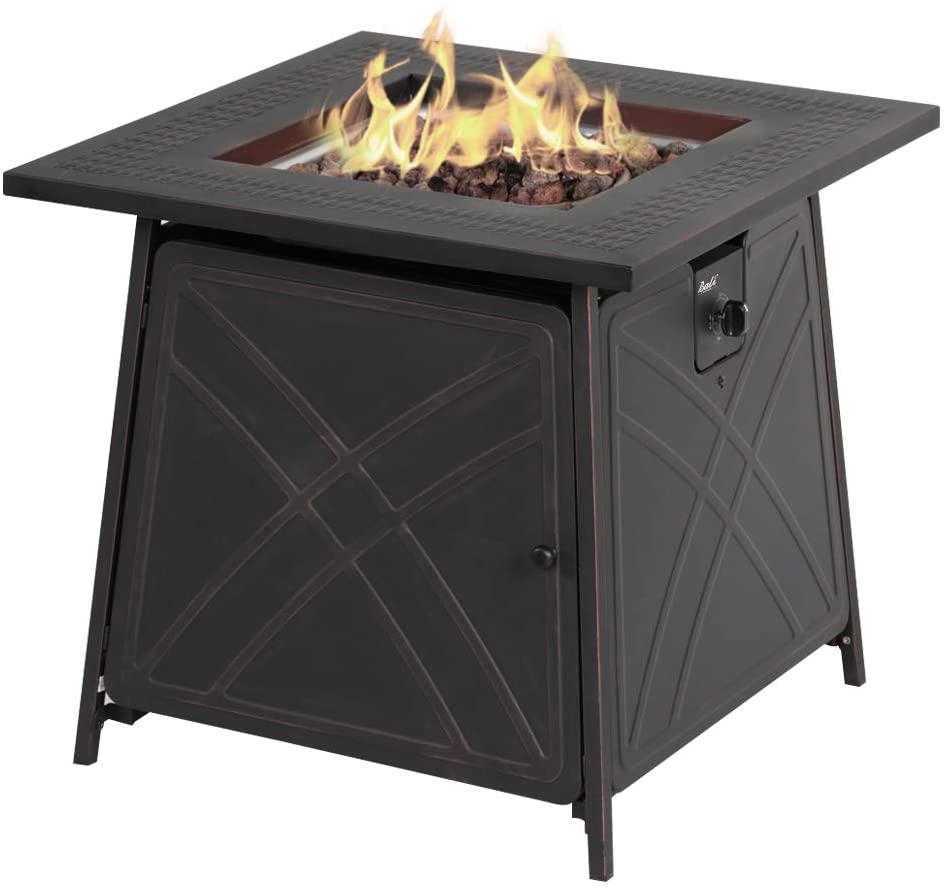 "BALI OUTDOORS Firepit LP Gas Fireplace 28"" Square Table 50,000 BTU Fire Pit, Black"