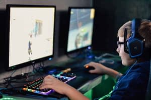 boy playing video game at LAN event